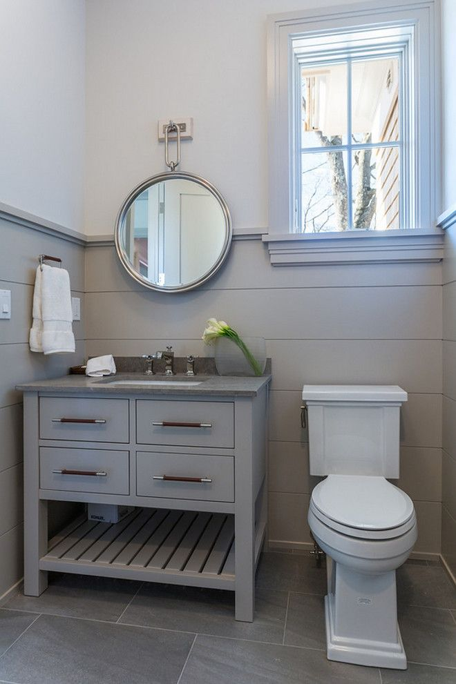 Benjamin Moore shale 861 on shiplap walls and cabinet. SIR Development. Shawna Feeley Interiors. #powderroom