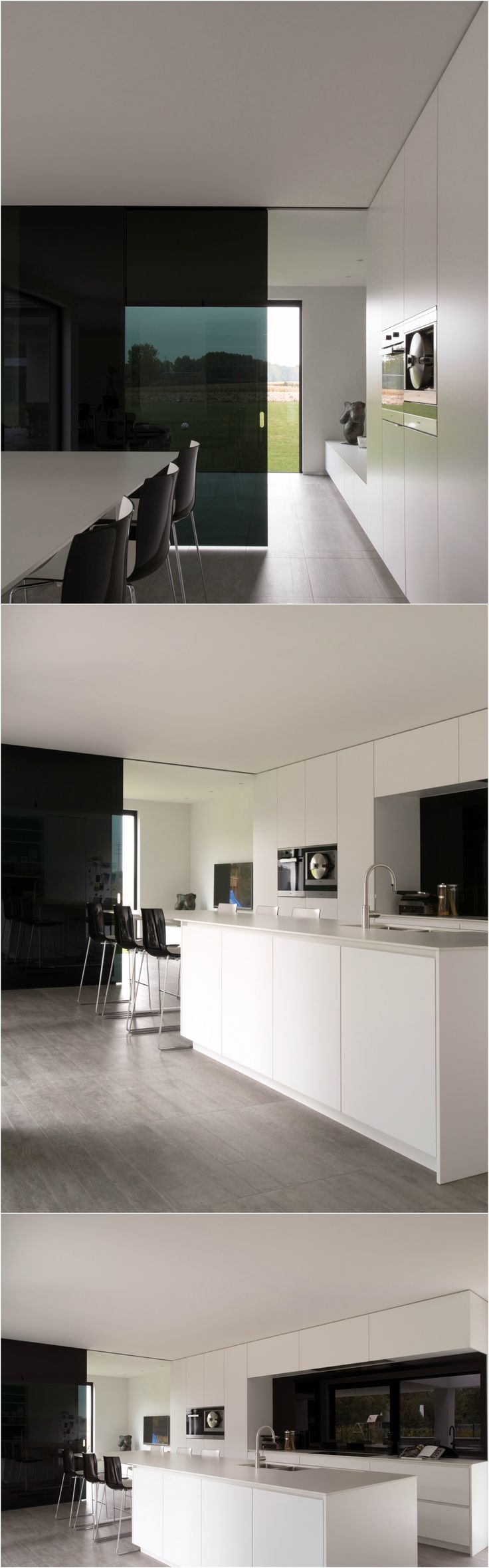 Modern white interior doors - Modern White Kitchen With A Glass Sliding Door Made From Dark Grey Glass By Anyway Doors
