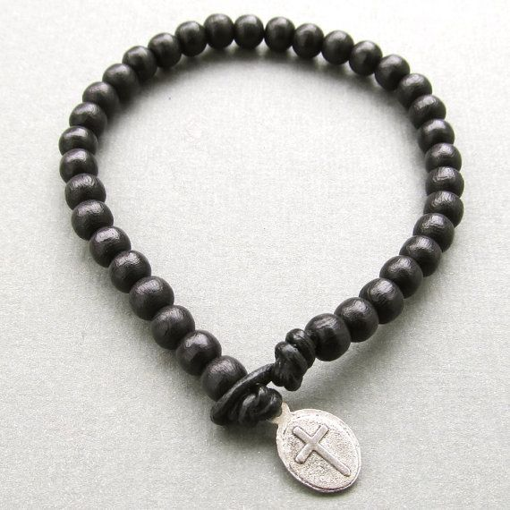 Mens black wooden beaded leather cord bracelet with tibetan silver cross charm