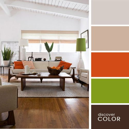Lounge room tones with earth, light olive green and burnt orange