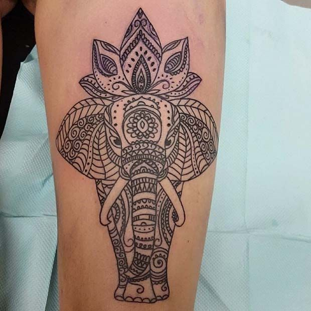 Statement Elephant Leg Tattoo For Elephant Tattoo Ideas Elephant Thigh Tattoo Leg Tattoos Sleeve Tattoos