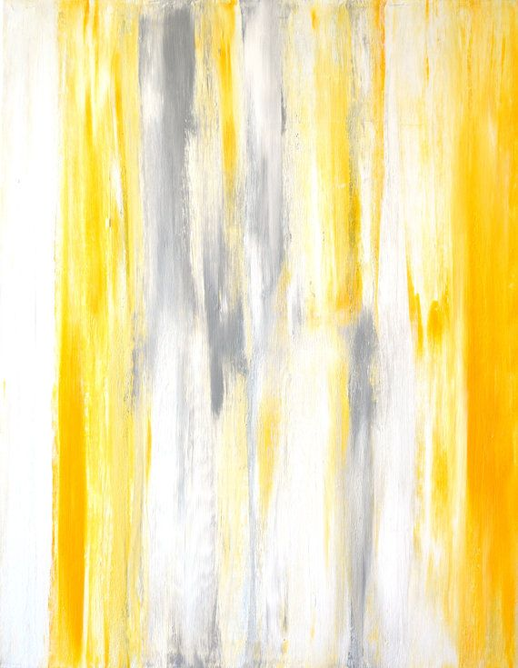 Grey and yellow abstract art painting by t30gallery 110 for Yellow and gray paint