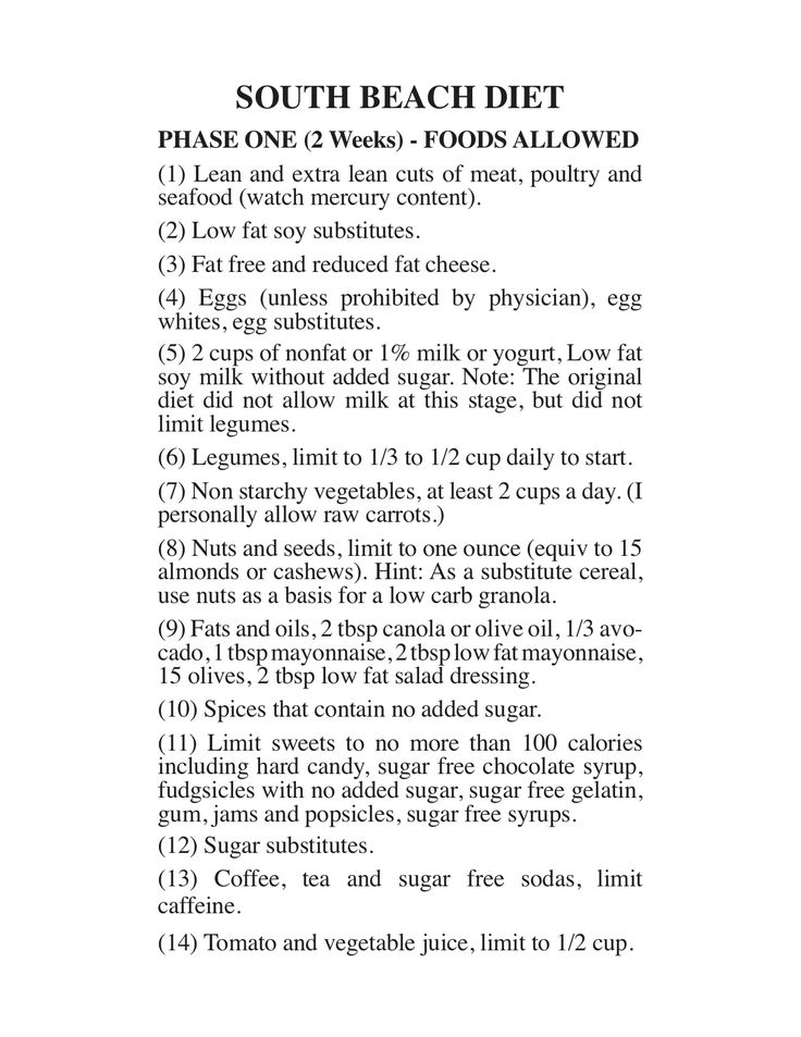 """South Beach Diet - Phase 1...by Richard A. Price, author of """"Glycemic Matrix Guide to Low GI and GL Eating""""."""