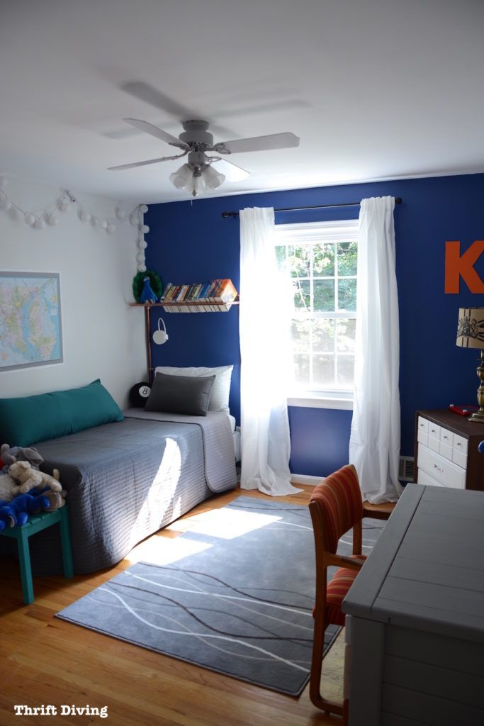 Before Amp After Boy S Blue Accent Wall Bedroom Makeover