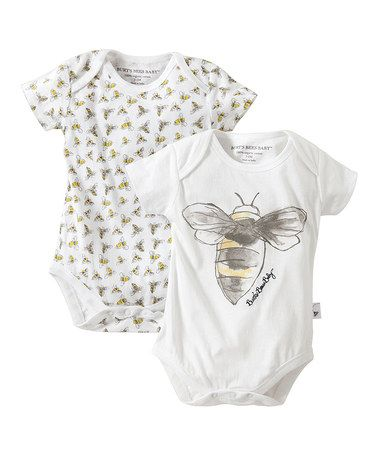 Another great find on #zulily! Cloud Watercolor Bee Organic Bodysuit Set - Infant by Burt's Bees Baby #zulilyfinds