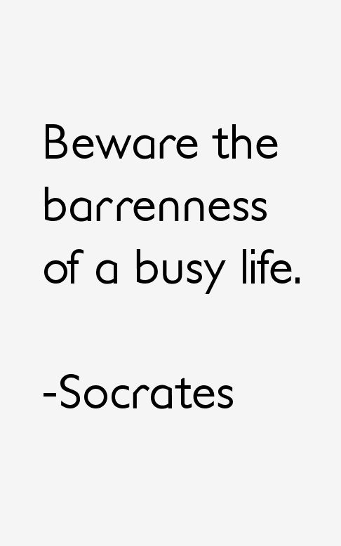 Beware the barrenness of a busy life. - Socrates quotes
