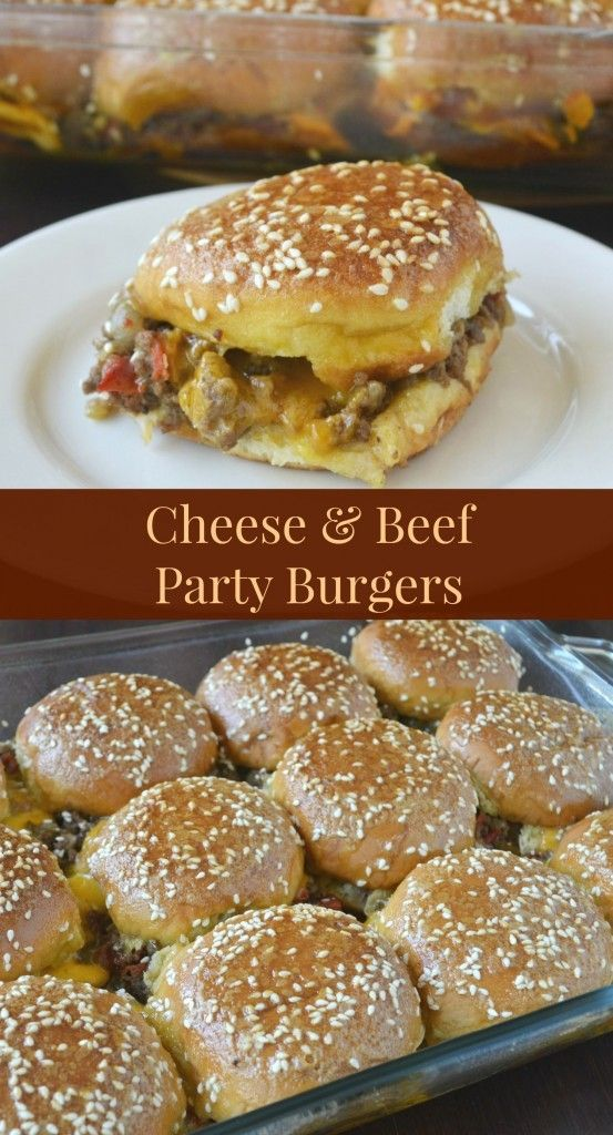 Cheese & Beef Party Burgers recipe from Sunflower Supper Club. The glaze/sauce on top of these burgers is to die for! So good. For dinner or a party! Amazing meal!