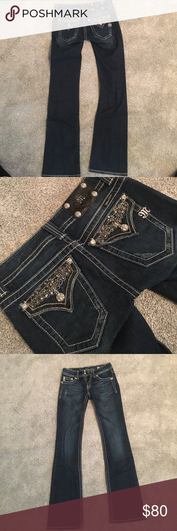 Miss Me brand dark wash flared jeans They are dark wash flared Miss Me branded jeans. The pockets in the back are studded with silver jewels. Worn under 5 times and in great condition. Miss Me Jeans Flare & Wide Leg