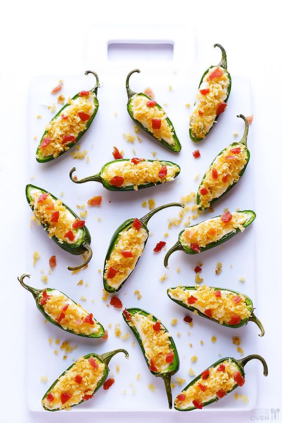 (Lighter!) Jalapeno Poppers Recipe -- perfect for popping, and made with lighter ingredients | gimmesomeoven.com #appetizer #snack
