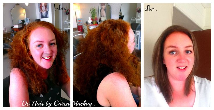 Tone down natural red with a cool caramel rinse & soft babylights..