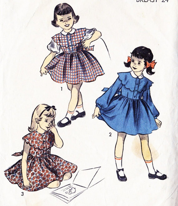1950s Girls Dress Vintage Sewing Pattern