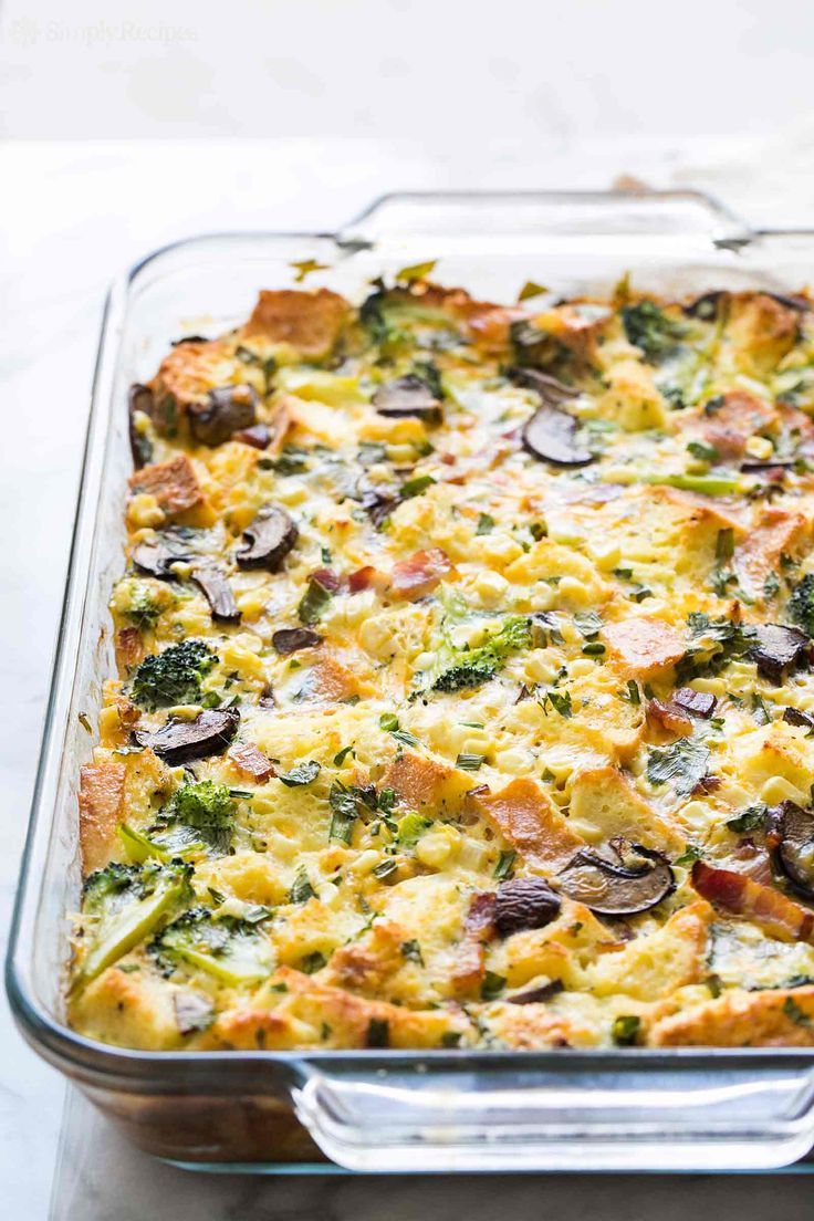 As-You-Like-It Breakfast Casserole ~ Easy-to-make breakfast casserole, with eggs, cheese, milk, and bread, baked with your favorite mix-ins - sausage, bacon, ham, mushrooms, veggies. ~ SimplyRecipes.com