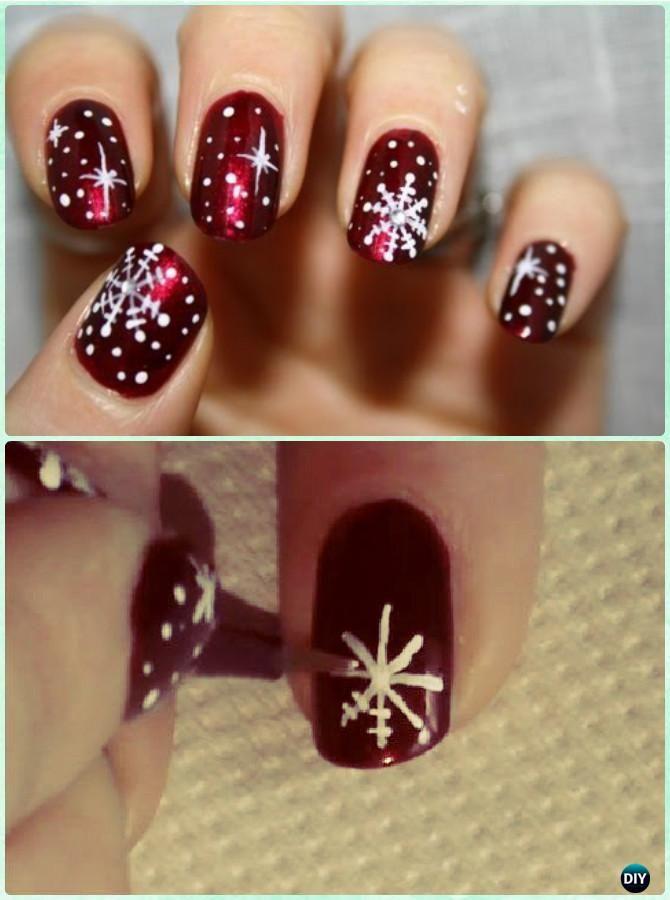 DIY Winter Snowflake Nail Art Instruction-DIY Christmas Nail Art Ideas  #NailArt