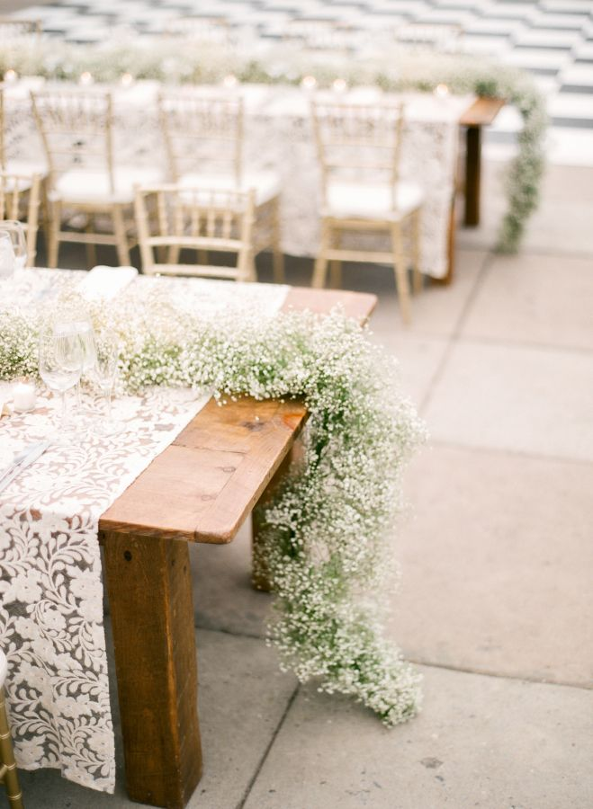 Baby breath garland centerpiece: http://www.stylemepretty.com/pennsylvania-weddings/philadelphia/2016/06/28/see-why-this-wedding-wins-the-award-for-most-unique-venue-ever/ | Photography:Mary Dougherty Photography - http://marydougherty.com/