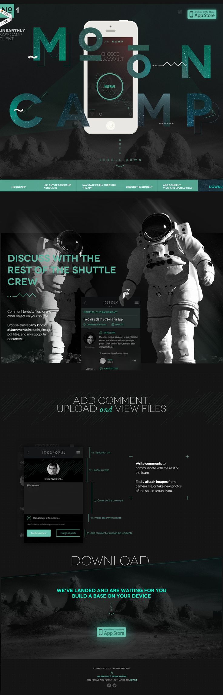 MoonCamp, 30 November 2013. http://www.awwwards.com/web-design-awards/mooncamp  #App #Unearthly #OnePage #Scroll: