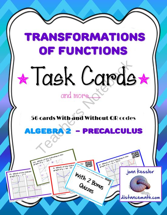 258 best school images on pinterest learning school and studying algebra precalculus transformation of graphs of functions task cards qr hw fandeluxe Image collections