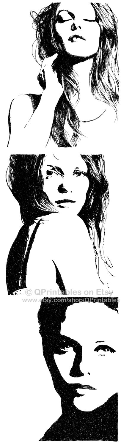 Vanessa Paradis Black and White Ink Pen Drawing Beautiful Woman Face