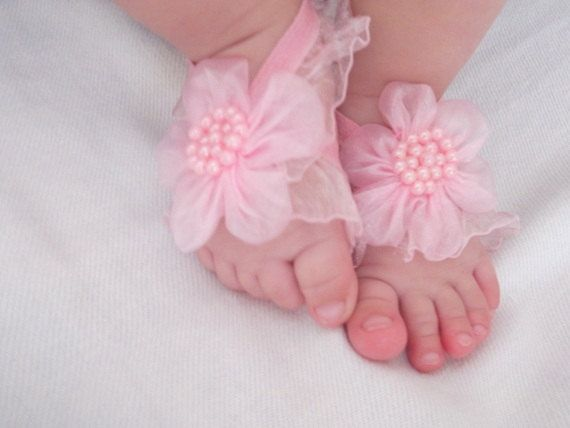 Pink Flower Baby Barefoot Sandals - Baby Sandals - Barefoot Sandals-Handmade Baby Sandals with Cute Yoyo. $8.30, via Etsy.