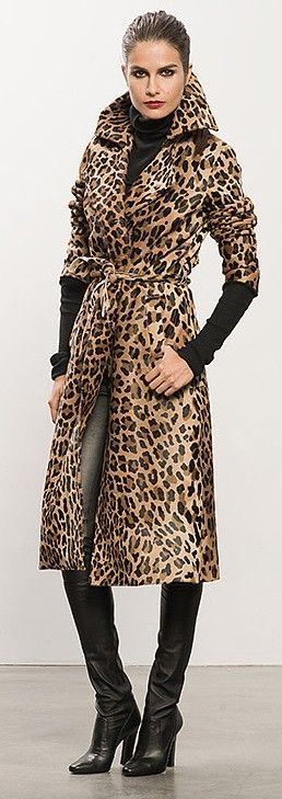 Leopard Calf Skin Trench | LBV ♥✤ | KeepSmiling | BeStayElegant  LOVE THIS COAT!!