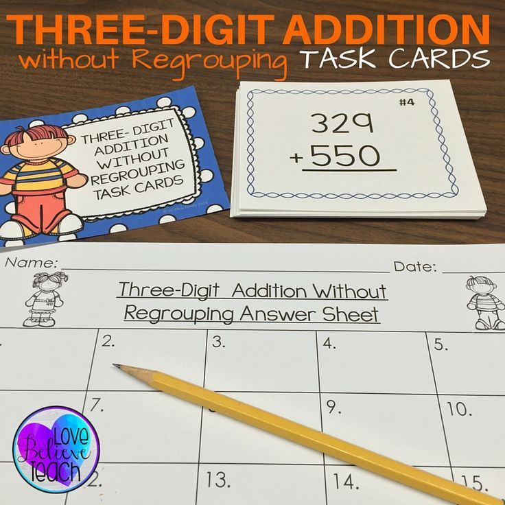 Three Digit Addition Without Regrouping Task Cards