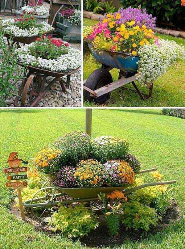 34 Easy and Cheap DIY Art Projects To Dress Up Your Garden - Wheel Barrow Planters
