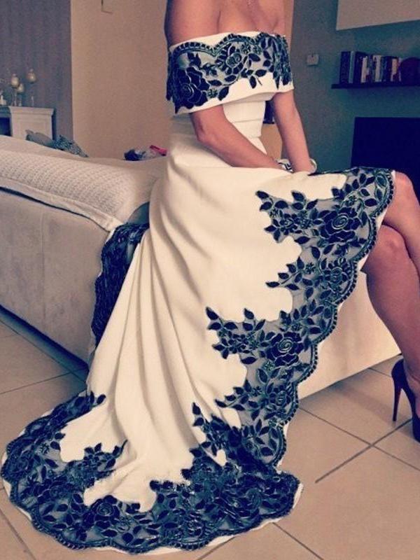 High Low Prom Dresses A-line Off-the-shoulder Scoop Sexy Prom Dress Long Evening Dress JKL724 3