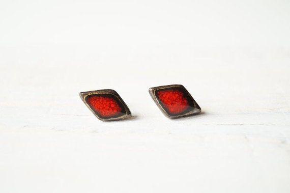 SALE 25% Off Ceramic Studs Red Ceramic Earrings Ceramic by bemika