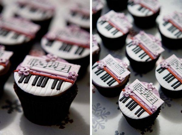 piano keyboard & music cupcakes