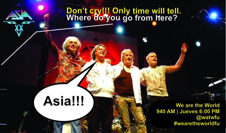 Asia, la superbanda integrada por John Wetton (cantante y bajista, ex miembro de King Crimson), Carl Palmer (ex batería de Atomic Rooster y del famoso trío Emerson, Lake & Palmer), Steve Howe (mítico guitarrista de Yes) y Geoffrey Downes (teclista ex Yes y The Buggles). Rock progresivo de los 80.