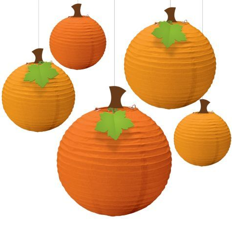 Fall Round Paper Lanterns 5ct - Hanging Decorations - Fall Theme Party - Theme Parties - Categories - Party City