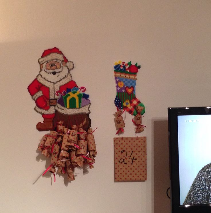 Adventskalender, Bügelperlen, Santa Clause und Stiefel