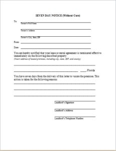 Seven Day Eviction Notice without cure DOWNLOAD at http://www.templateinn.com/8-legal-property-eviction-notices/