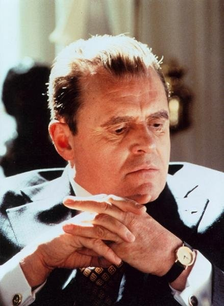 """Anthony Hopkins. Here he portrays President Nixon in the 1995 film; Nixon. Another brilliant performance was in the 1980 film """"The Elephant Man""""."""