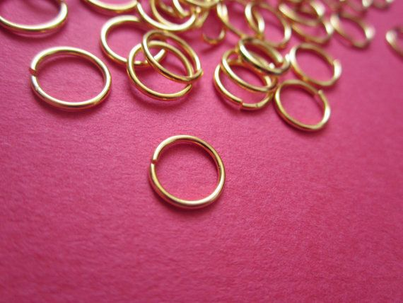 9mm #Jump #Ring Gold plated 22ga http://etsy.me/1I7NXFM #jewelry #mount #brass #jewel #gem #bezel #setting #goldplated #gold #24k