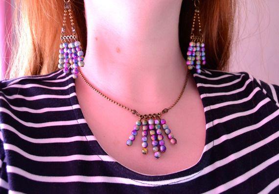 """Boucles d'oreilles """"My Galaxy"""" Pendantes, Bohème Chic Bronze Perles Stardust"""