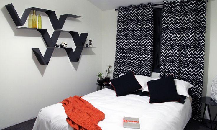 Interior design Carly Thomas C Design studio - Low budget bedroom design - featuring C design studio magazine shelving design .