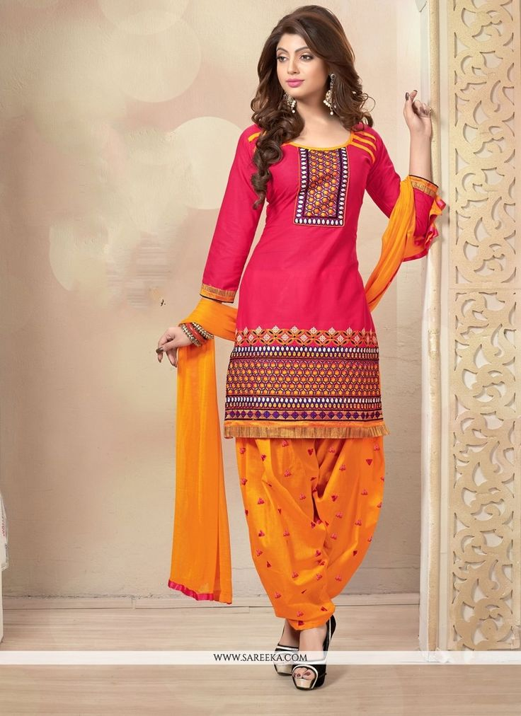 Hot Pink Cotton Designer Punjabi Suit