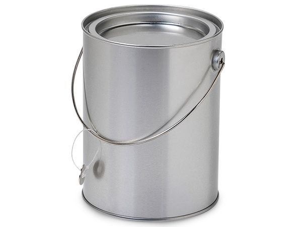 Clear Paint Can Pail With Handle 3x3 6 Pack Metal Tins Pail Paint Cans