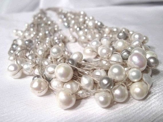 Multi Strand Pearl Necklace Fine Wedding Jewelry by DreamsFactory,