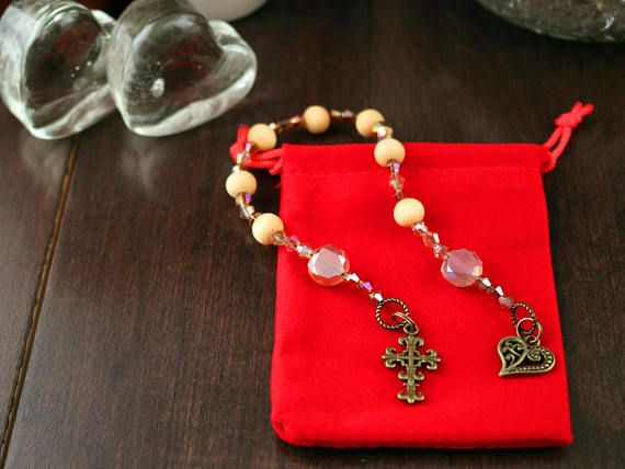 Pocket Prayer Chaplet Golden Wooden and Swarovski Crystal Beads with Antique Gold Finish Detailed Heart and Cross Charms in Velvet Pouch