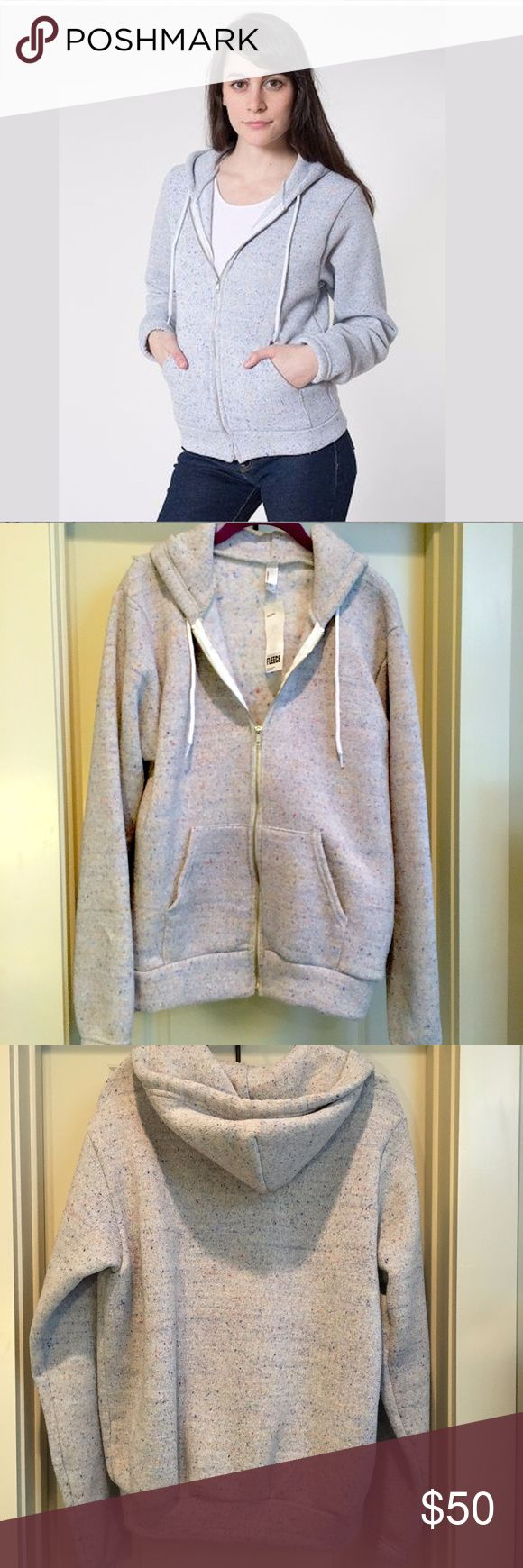 American Apparel Unisex Fleece Hoodie Confetti NWT *BRAND NEW--New With Tags, Never Worn! *American Apparel Nantucket Fleece Hoodie White Confetti Unisex *Unisex Size Medium *Light Gray with Speckled Pastel Confetti Colors *Very Warm and Soft Comfortable Zip-Up Jacket with White Drawstring Hood *RARE and No longer made! American Apparel Jackets & Coats
