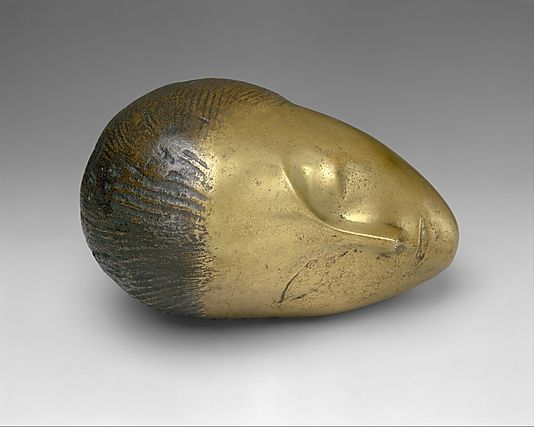 Sleeping Muse, Bronze. 1910. Constantin Brancusi / Here, the languor of the ovoid shape responding to gravity suggests the heaviness of sleep. The sleeping head, one of Brancusi's first thematic cycles, occupied the artist for almost twenty years.