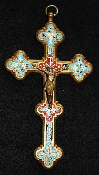 Antique micro mosaic cross - crucifix - Italian grand tour  Rare