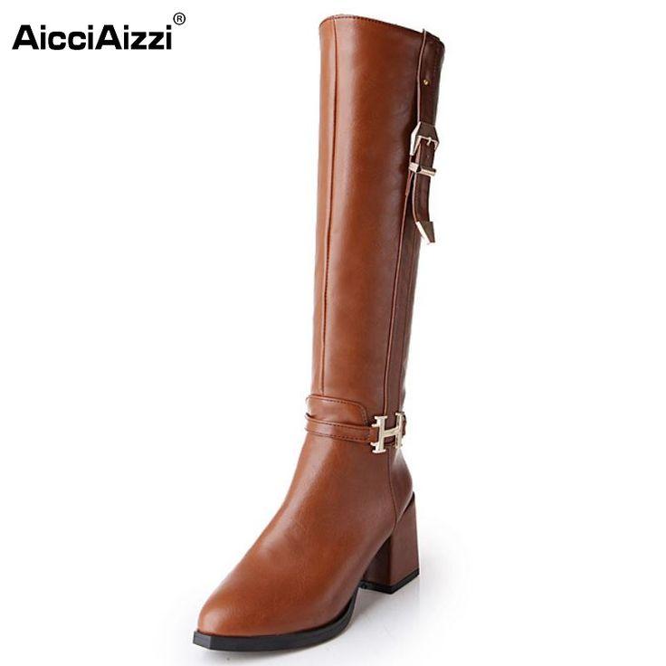 Women Flat Knee Boot Fashion Gladiator Leisure Buckle Zipper Warm Winter Long Boots Brand Footwear Shoes Women Size 34-43 #Affiliate