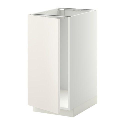 IKEA - METOD, Bänkskåp f diskbänk/sopsortering, Veddinge vit, vit, , Du kan välja att montera luckan högerhängd  eller vänsterhängd.Stommens konstruktion är rejäl; 18 mm tjocklek.Gångjärn med snäppfunktion monteras enkelt fast i luckan utan skruv och gör det lätt att ta av luckan och rengöra den.