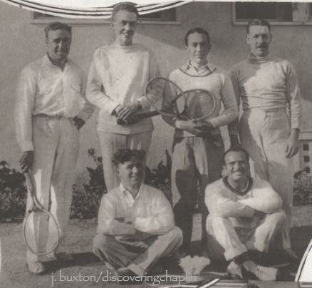 Front: Charlie Chaplin & Douglas Fairbanks. Standing (L-R): Raoul Walsh, Cornelius Vanderbilt, Jack Pickford, C. Carlton Bingham