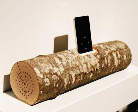 Wood Log iPod Speaker