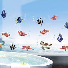 Mar dos desenhos animados animais peixe NEMO início decalques adesivos de parede vinil removível do banheiro adesivos arte para berçário do bebê crianças quartos mural(China (Mainland))