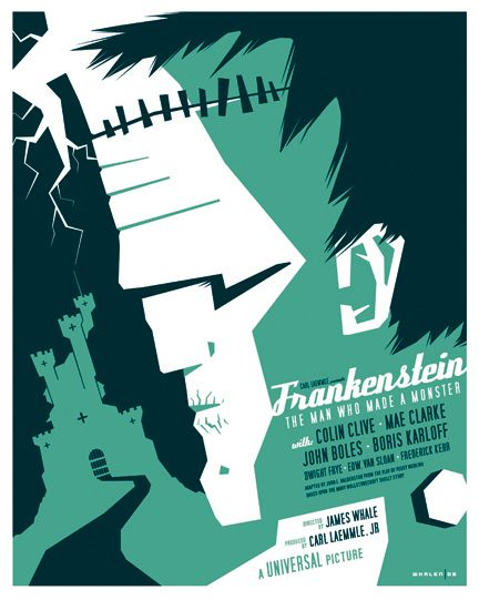Frankenstein movie poster from a series of monster movie posters