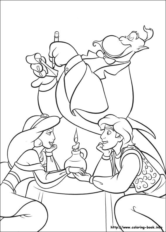 Top Jasmine And Aladdin On A Romantic Date With Genie As Waiter Coloring Page